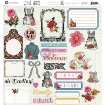 "Prima Marketing Anna Marie Self-Adhesive Chipboard 12x12"" 30 dele"