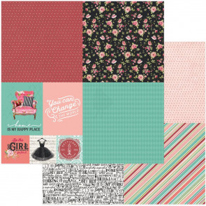 """Vintage Girl Double-Sided Cardstock 12x12"""" Tiny Prints Quad 2"""