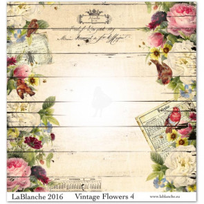 """LaBlanche Papers """"Vintage Flowers"""" 04 Dobbeltsidet 12x12"""""""
