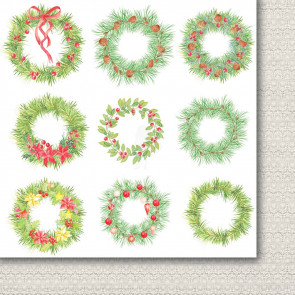 "Galeria Papieru A Christmas Tree Dobbeltsidet Cardstock 12x12"" Paper - Christmas Wreaths Bits"