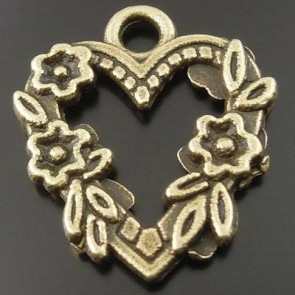 Charms Antique Flower Lace Heart