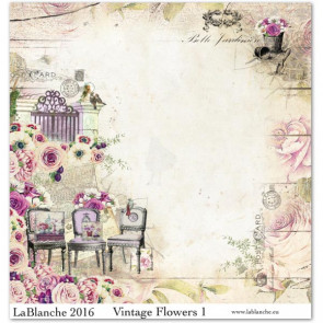 """LaBlanche Papers """"Vintage Flowers"""" 01 Dobbeltsidet 12x12"""""""