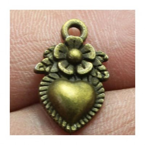 Findings Charms 10x17mm - Hearts Antik Bronze