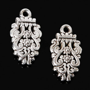 Findings Vintage Grape Charms 9x16mm - Silver Plated