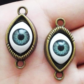 Findings Vintage Green Eye Connector Charms 21x30mm - Antik Bronze