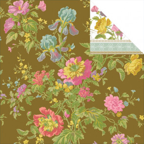 """Anna Griffin Olivia Double-Sided Cardstock 12x12"""" - Iris Floral/Brown"""