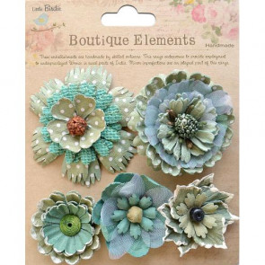 Little Birdie Donatella Flowers Rustic Teal 5pcs Vintaj
