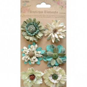 Little Birdie Fusion Blossoms Rustic Teal 6pcs Vintaj