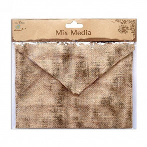 "Little Birdie Burlap Envelope 7.5x5.5"" 1pc"