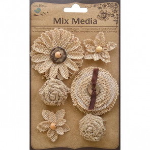 Little Birdie Burlap Harmony Flowers Natural & Cream 6pcs Mix Media
