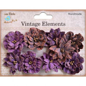 Little Birdie Serenade Blooms Grape Crush 9pcs Vintage Elements