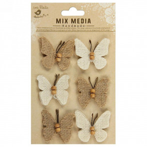 Little Birdie Burlap Butterflies Natural & Cream 6 Pcs