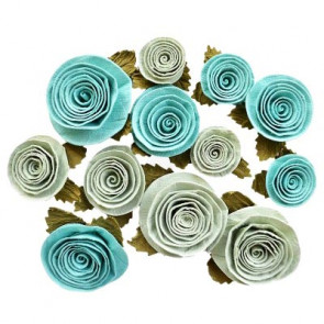 Little Birdie Spiral Rose Big Pacific Blue 12pcs Boutique Elements