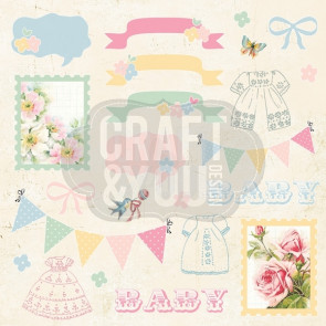 "Craft & You Design Hello Baby Enkeltsidet Cardstock 12x12"" Klippeark - 07"