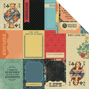 """KaiserCraft The Looking Glass Dobbeltsidet Cardstock 12x12"""" - Queen Of Hearts"""